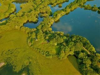 Aerial photo of a lake near Birminham uk