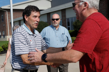 Republican candidate Balderson shakes hands with voter in Newark, Ohio