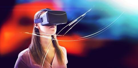 Woman using an oculus