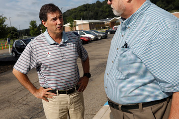 Republican candidate Balderson speaks with voter in Newark, Ohio