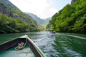 Fototapeta Macedonia Canyon Matka Boat Ride in the valley in Summer obraz