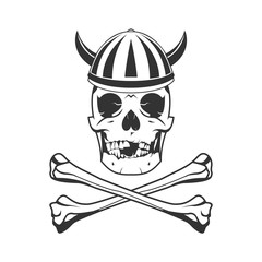 skull viking and bone illustration