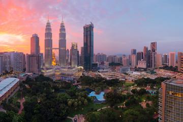 Kuala Lumpur, Malaysia skyline view at sunset.