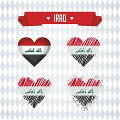 Iraq heart with flag inside. Grunge vector graphic symbols