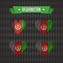 Afghanistan heart with flag inside. Grunge vector graphic symbols