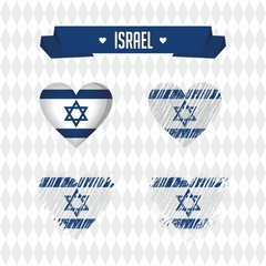 Israel heart with flag inside. Grunge vector graphic symbols