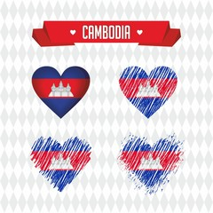 Cambodia. Collection of four vector hearts with flag. Heart silhouette