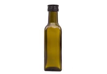 Olive oil bottles on white.