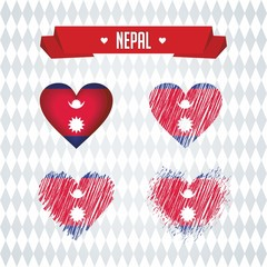 Nepal with love. Design vector broken heart with flag inside.