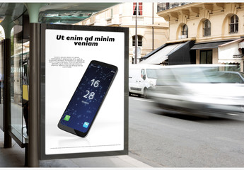 Bus Kiosk Billboard Mockup