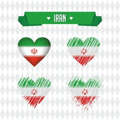 Iran. Collection of four vector hearts with flag. Heart silhouette