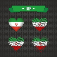 Iran with love. Design vector broken heart with flag inside.