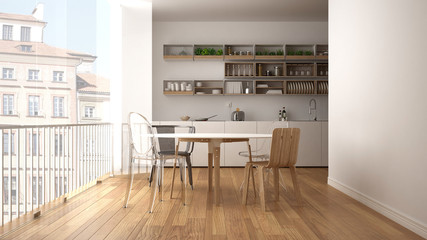 Minimalist white and wooden kitchen with dining table and big panoramic window. City, old town panorama in the background. Eco house interior design