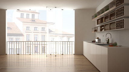 Minimalist white and wooden kitchen with parquet floor and big panoramic window. City, old town panorama in the background. Eco house interior design