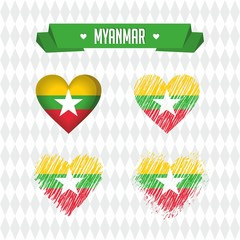 Burma. Collection of four vector hearts with flag. Heart silhouette