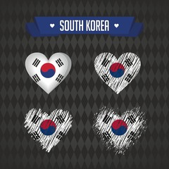 South Korea. Collection of four vector hearts with flag. Heart silhouette