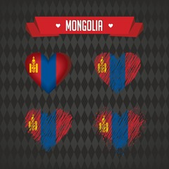 Mongolia with love. Design vector broken heart with flag inside.