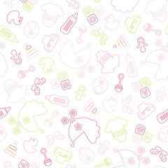 Seamless Baby Pattern Symbols Girl Outline