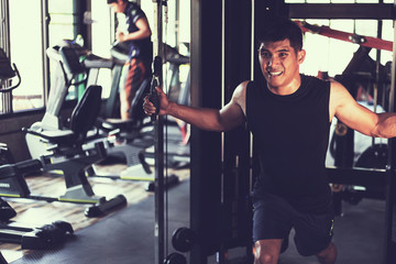 healthy people workout and building body at gym