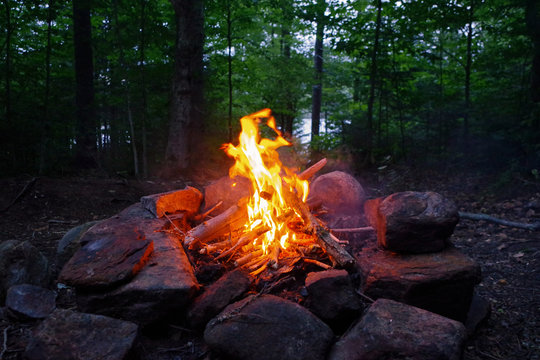 Campfire burning in the Adirondack Mountains. Essential Survival and Bushcraft skills