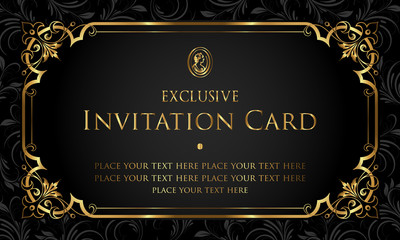 Exclusive black and gold invitation card in vintage style