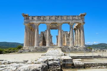 AEGINA, GREECE - JUNE 19: The Temple of Aphaia in Aegina, Greece on June 19, 2017.
