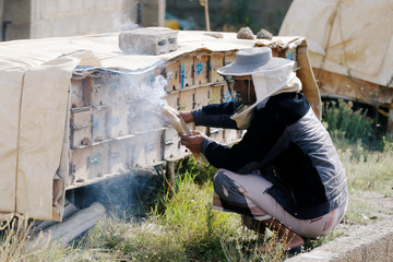 Beekeeper uses smoke to calm bees at a farm in Hamdan