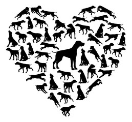 Beagle Dog Heart Silhouette Concept