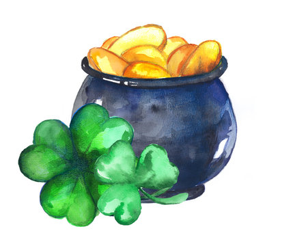 Pot of gold and clover leaves. Illustration for St. Patrick's Day. Irish culture.