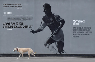 A dog walks past a wall display of former Arsenal soccer player Tony Adams at Emirates Stadium, the home of Arsenal soccer club in London, Britain