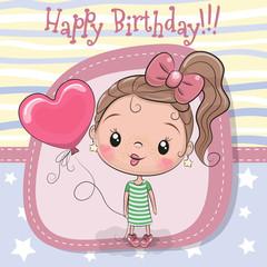 Greeting card girl with balloon