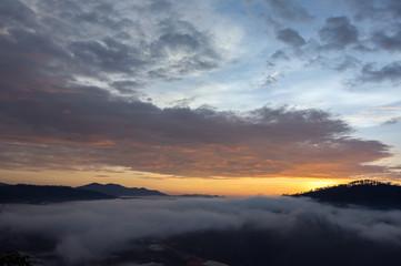 The fog of Dalat plateau lands, Vietnam
