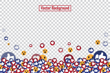 Social nets blue thumb up like and red heart floating web buttons isolated on transparent background. Like and heart icons for live stream video chat likes falling background vector design template