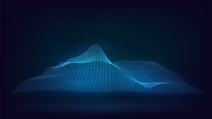 Blue glowing grid with waves, relief, abstract, technology