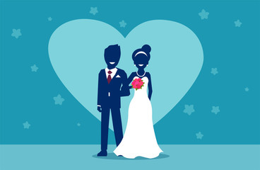 Vector of happy married couple in wedding day