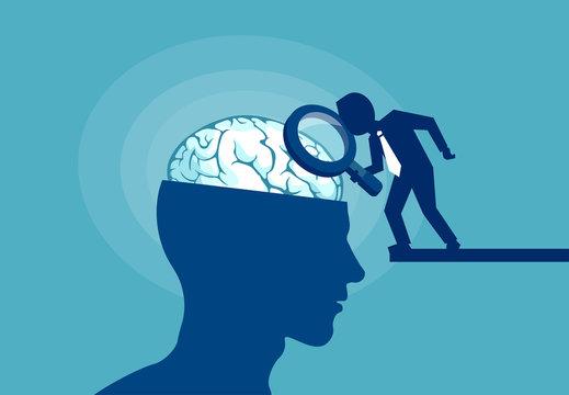 Concept of human brain under examination