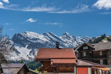 Murren rooftops and Alps