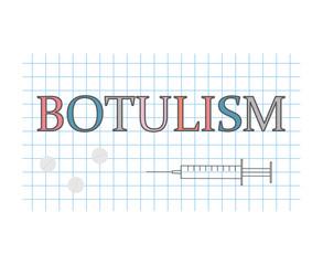 botulism word on checkered paper sheet- vector illustration