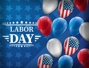 Waving American flag with typography Labor Day, September 7th, United state of America, American Labor day design. Beautiful USA flag Composition. Labor Day poster design.