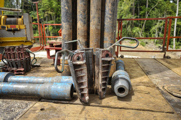 Drilling rig equipment on rig floor