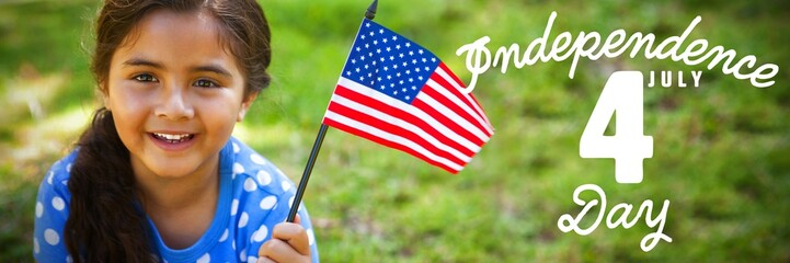 Composite image of portrait of girl with american flag
