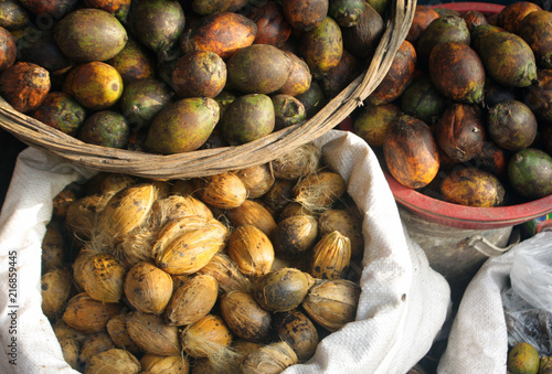 Areca nut aka betel nut at a market for sale  Paan is sold