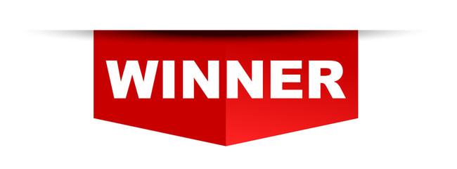 red vector banner winner