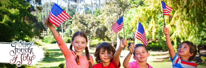 Composite image of children holding american flag