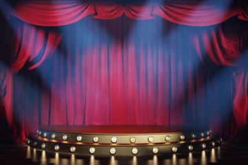 Theater stage with red velvet curtains and volume light. 3d illustration