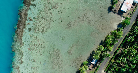 lagoon in aerial view, french polynesia
