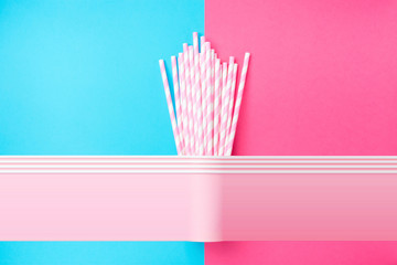 Stacked Drinking Paper Cups with Striped Straws on Duo Tone Mint Blue Pink Background. Flat Lay. Birthday Party Celebration Kids Fun. Greeting Card Poster Template. Copy Space. Pixel stretch glitch
