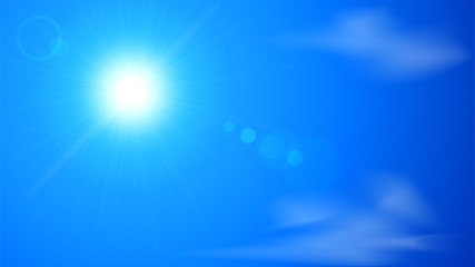 Background with blue clear sky, sun