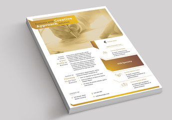 Flyer Layout with Brown and Gold Accents