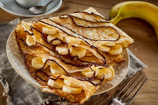Delicious homemade golden fried banana pancakes